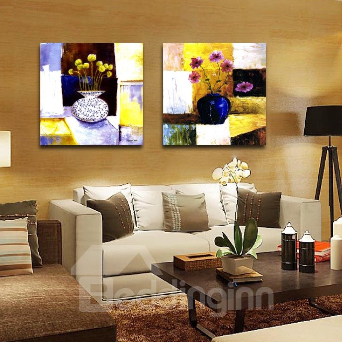 New Arrival Beautiful Oil Painting With Colorful Flowers Film Wall Art Prints