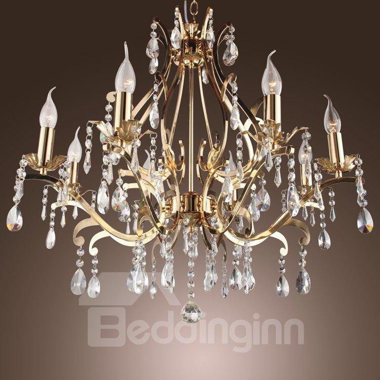 Elegant Golden Crystal 8 Lights Chandelier