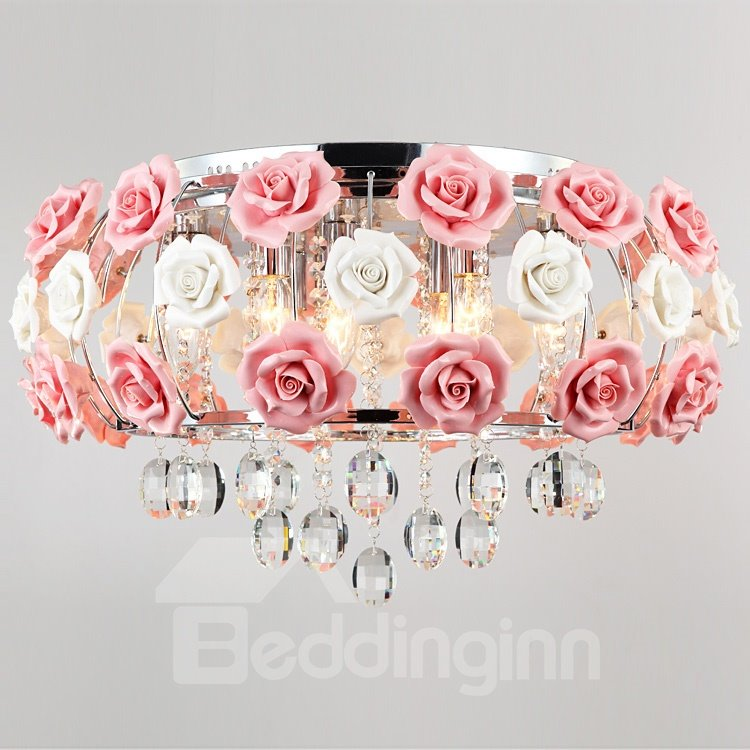 Idyllic Modern Pink Flower Crystal 5 Lights Flush Mount