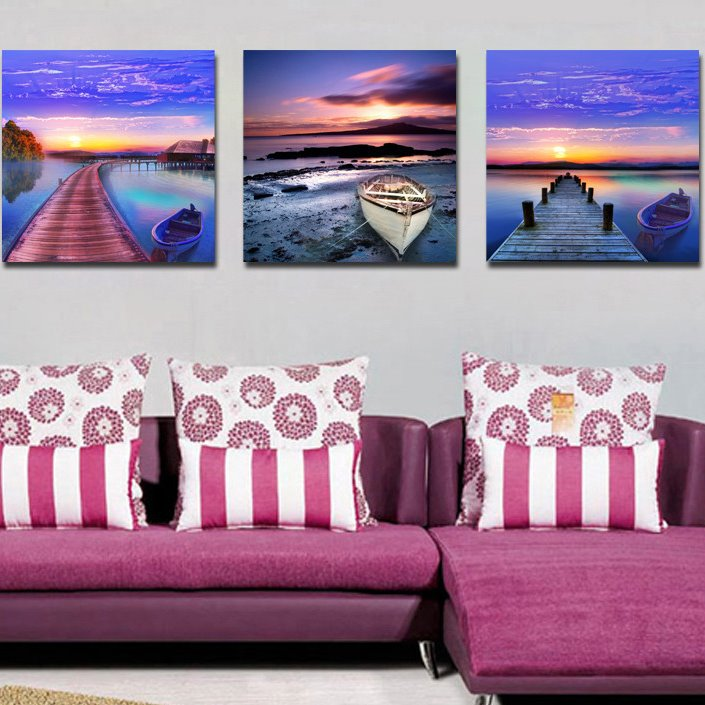 New Arrival Ship Bridge And Colorful Clouds Film Wall Art Prints