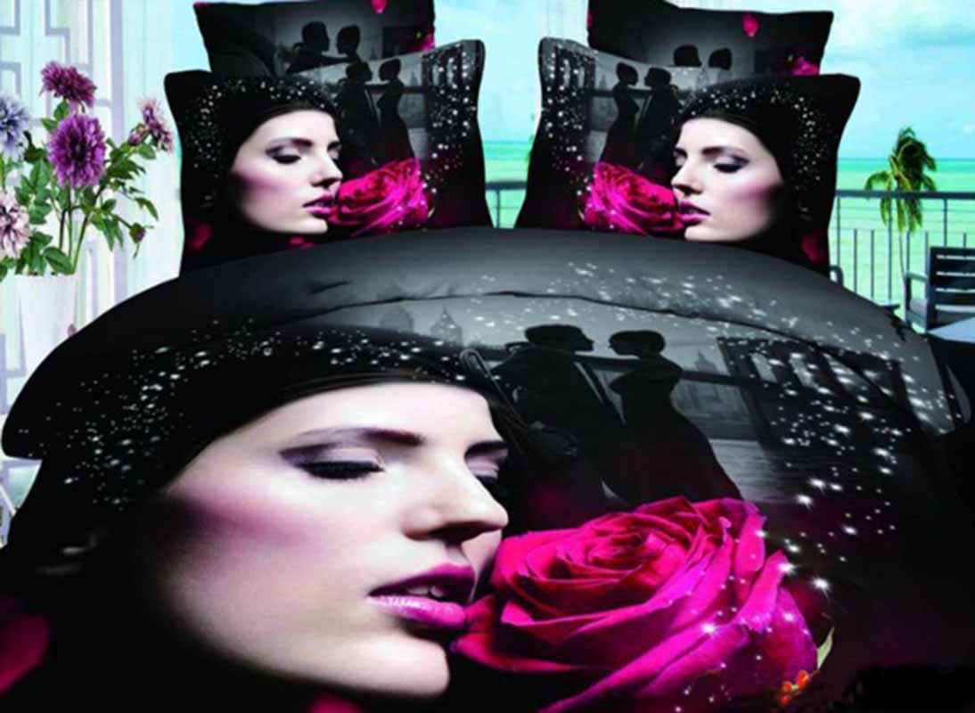 Beauty Girl and Red Rose Print 3D Duvet Cover Sets