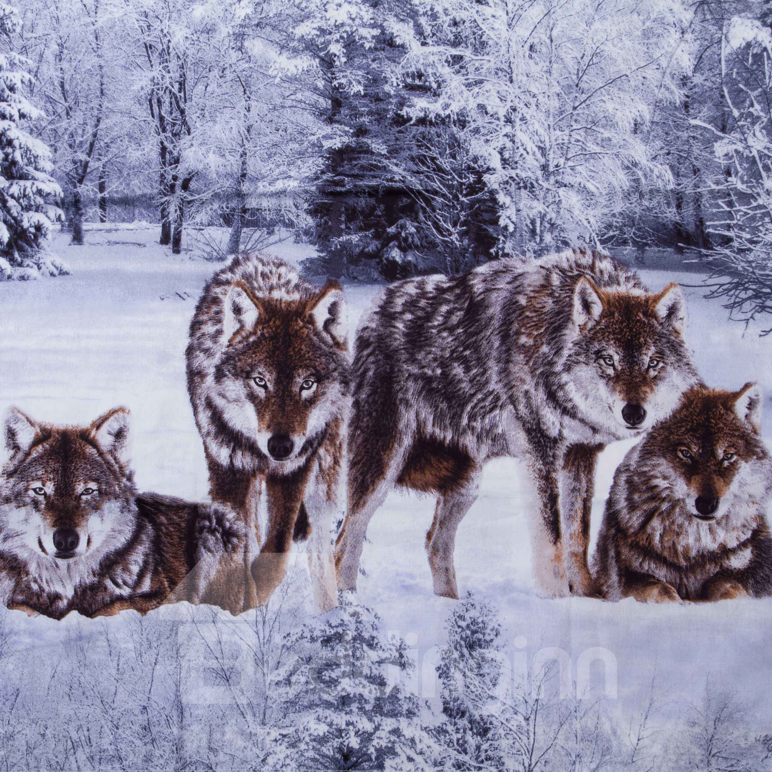 3D Snow Wolf in the Woods Printed Cotton 4-Piece Bedding Sets/Duvet Covers