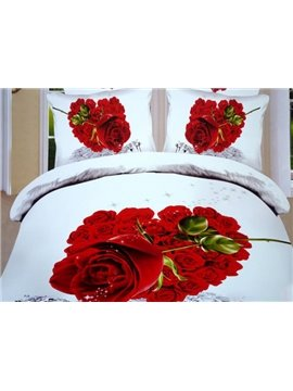 Red Heart Shaped Rose Print 3D Duvet Cover Sets