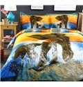 3D Elephant and Cub in Water Printed Cotton 4-Piece Bedding Sets/Duvet Covers