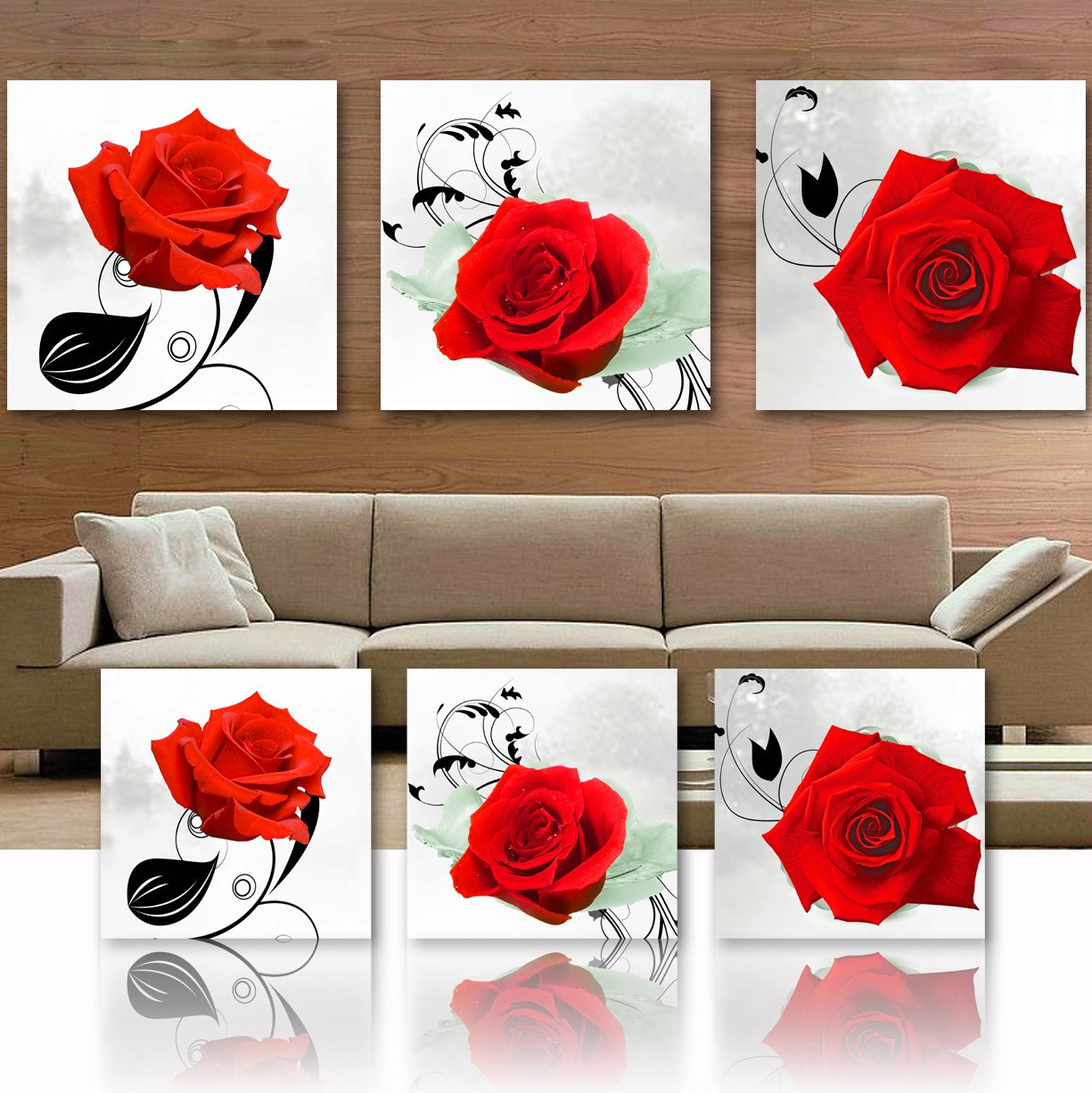 New Arrival Red Rose Blossom Film Art Wall Prints