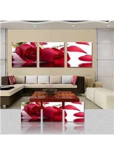 16×16in×3 Panels Delicate Red Roses Cross Film Art Wall Prints