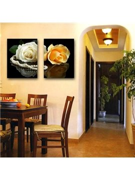 New Arrival White And Yellow Rose Film Art Wall Prints