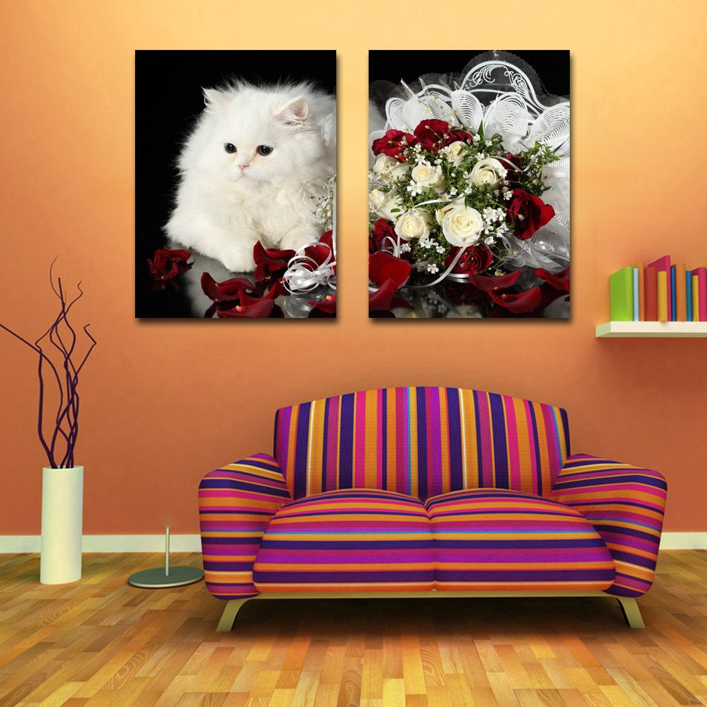 New Arrival Lovely White Cat And A Bunch Of Roses Film Art Wall Prints