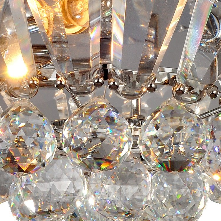 Glamorous Metal Crystal 3 Light Flush Mount