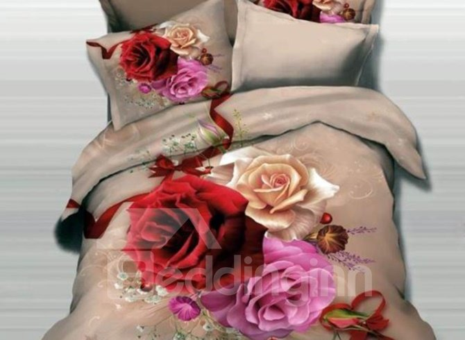 3D Rose and Ribbon Printed Cotton Full Size 4-Piece Bedding Sets/Duvet Covers