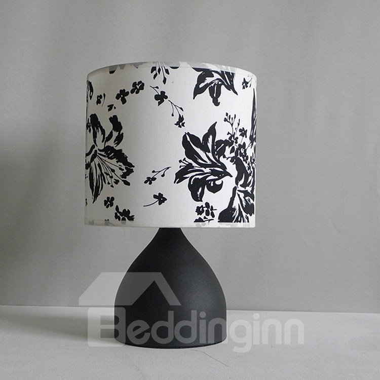 Stunning BLack Floral Fabric Shade 1 Light Lamp