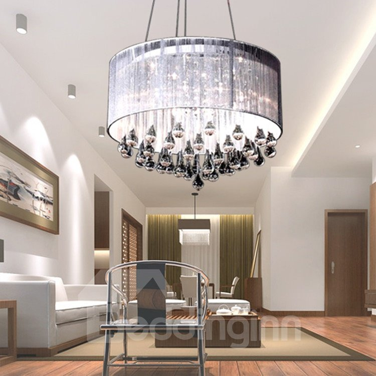 Stunning Metal White Drop Glass Round Chandelier