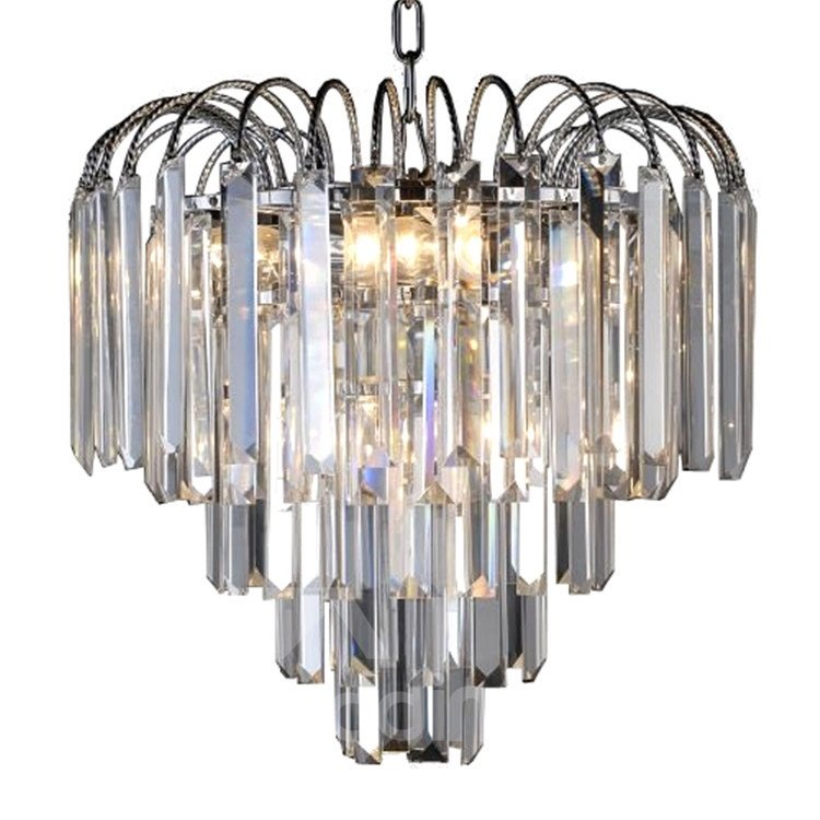 Comtemporary Stunning Metal Crystal Shade Chandelier
