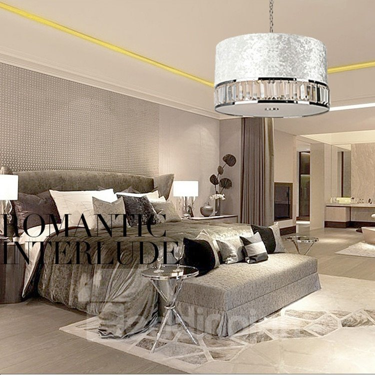 New Arrival Stunning Crystal Fabric Shade 1 Light Pendant