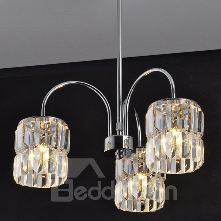 Comtemporary Stunning Metal Crystal 3 Lights Chandelier
