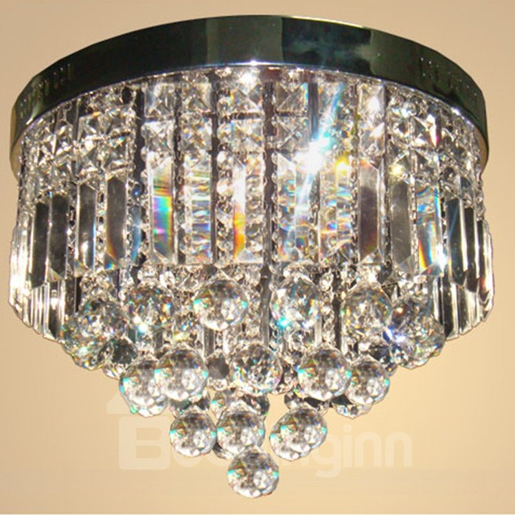 Charming Electroplated Finish Metal Crystal Flush Mount