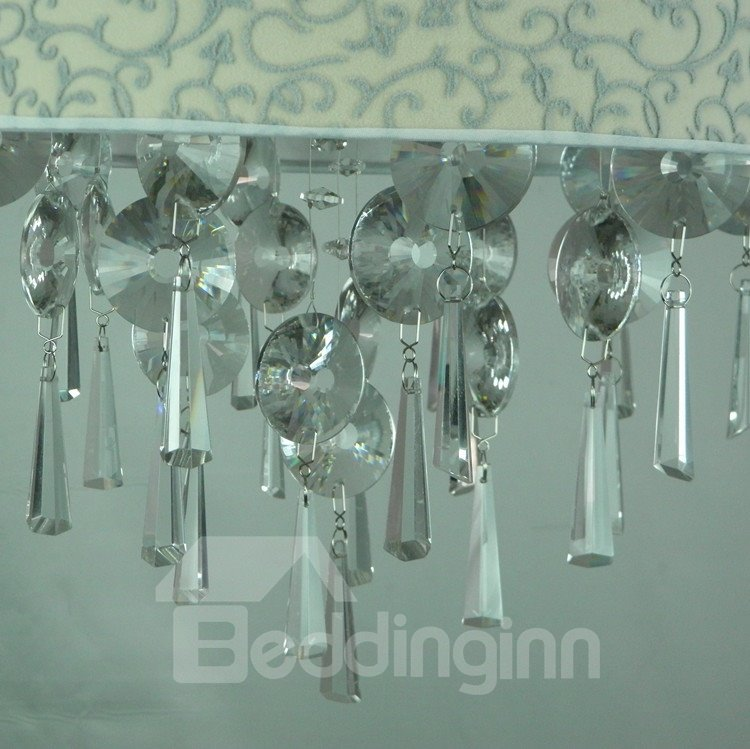 Perfect Patterned Chrome Metal Crystal Fabric Flush Mount