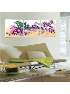 New Arrival Purple Flowers And Green Leaves Canvas Wall Prints