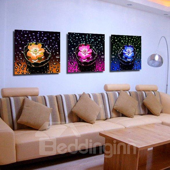 New Arrival Fragrant Flowers And Water Drop Canvas Wall Prints