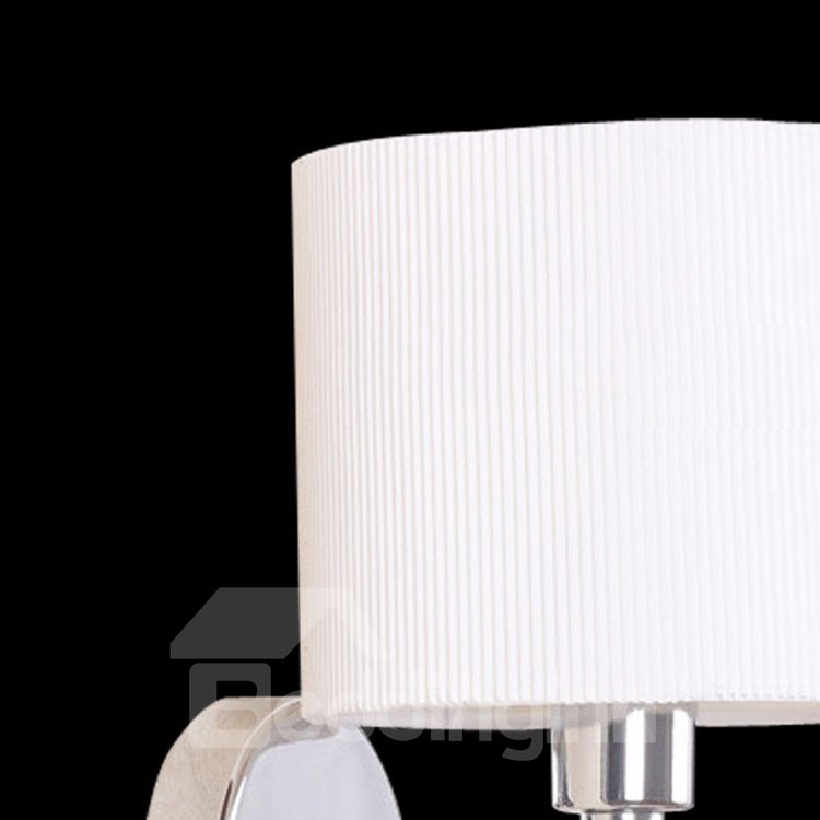 Stunning White Metal Fabric Shade 1 Light Bedroom Wall Light