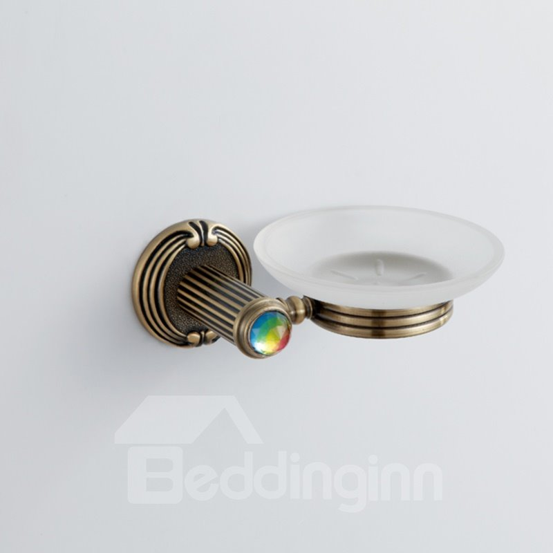 Colorful Crystal Decorated Bronze Finish Brass Round Shape Soap Holders Dish