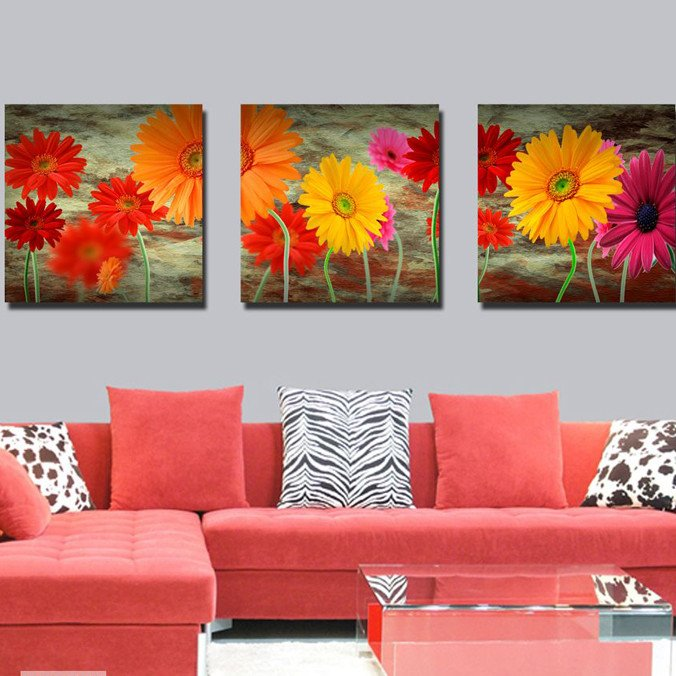 New Arrival Colorful Sunflowers Toward Sunshine Canvas Wall Prints