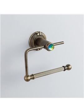 Antique Colorful Crystal Decorated Bronze Finish Brass Simple Toilet Paper Roll Holders Rack