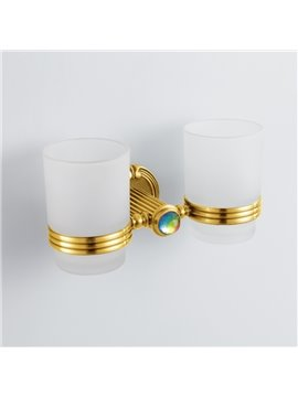 Antique Style Colorful Crystal Decorated Ti-PAD Finish Brass Double Cup Toothbrush Holder Rack