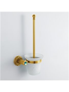 Colorful Crystal Decorated Ti-PAD Finish Brass Toilet Brush Holder Rack