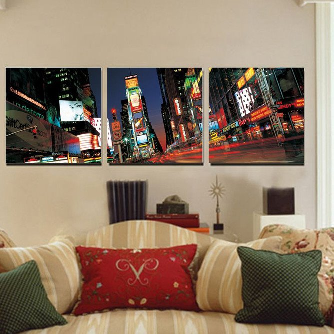 Modern City Scenery None Framed 3-pieces Canvas Wall Art Prints