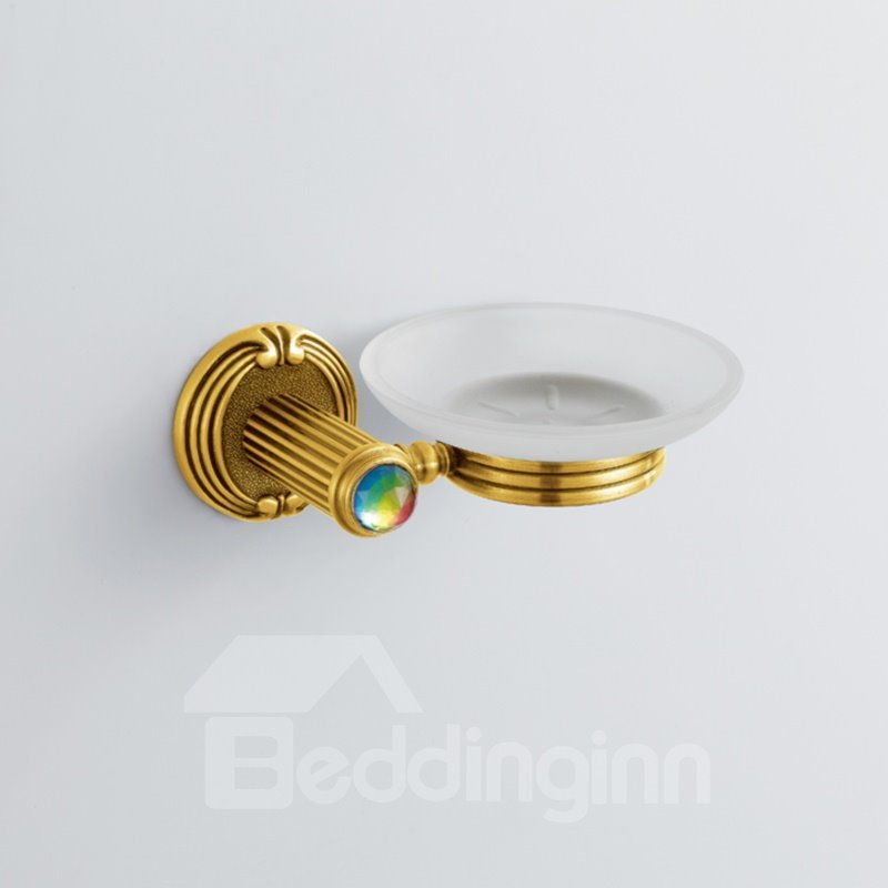 Colorful Crystal Decorated Ti-PAD Finish Brass Round Shape Soap Holders Dish
