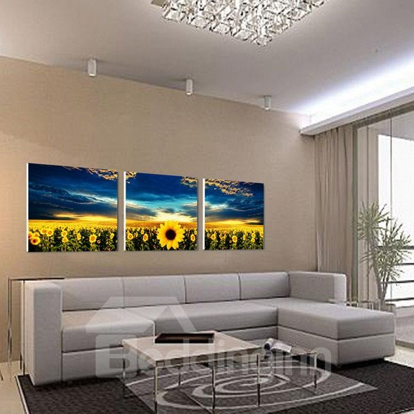 Elegant Sunflowers and Blue Sky Canvas 3-piece None Framed Wall Art Prints