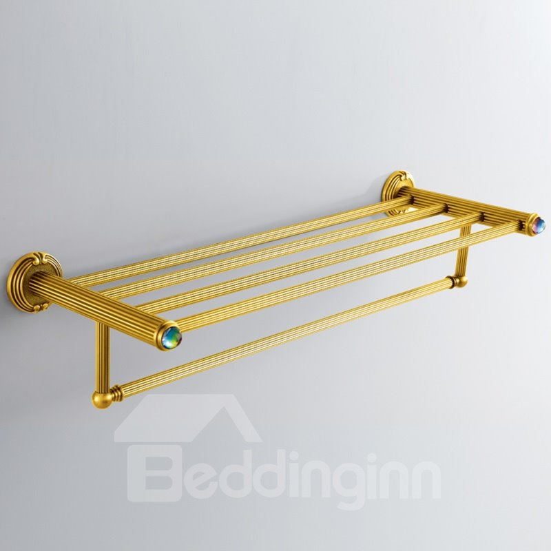 Colorful Crystal Decorated Ti-PAD Finish Brass Towel Rack