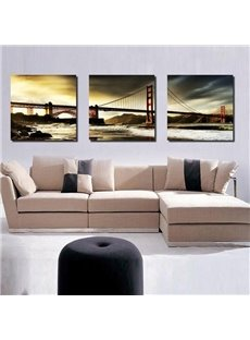 16×16in×3 Panels Golden Gate Bridge in Sunset Hanging Canvas Waterproof Eco-friendly Framed Prints