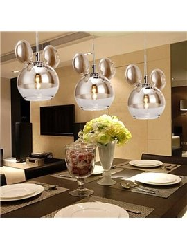 Amazing Chrome Metal Glass Shade 3 Lights Pendant
