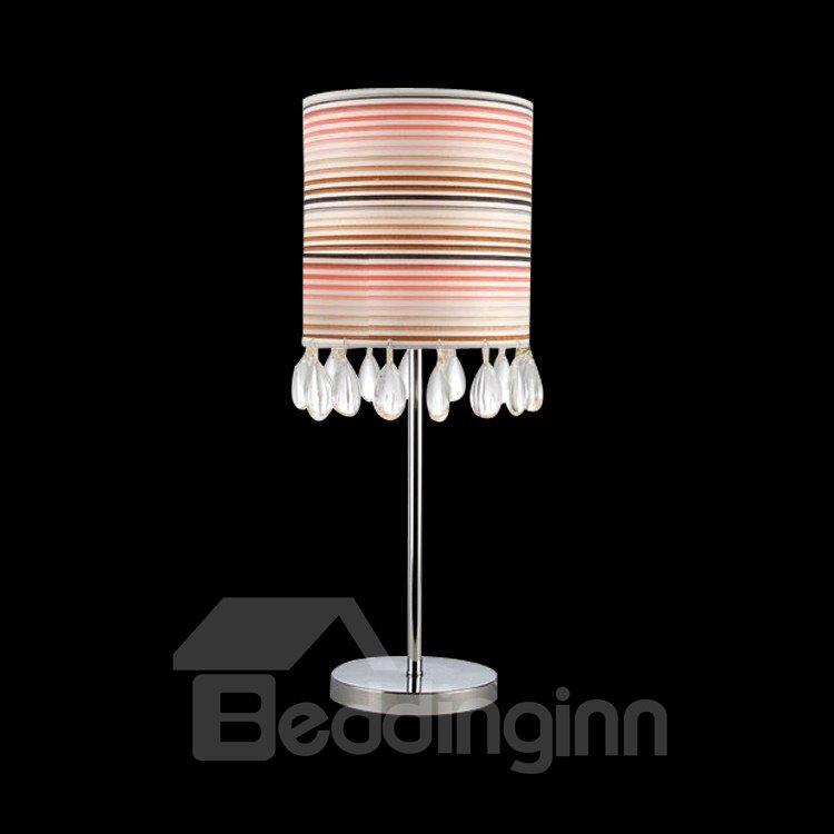 Stunning Metal Crystal Fabric Shade 1 Light Lamp