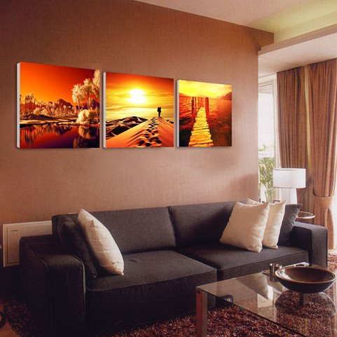 16×16in×3 Panels Desert Trees Sea in Sunset Hanging Canvas Waterproof and Eco-friendly Framed Prints
