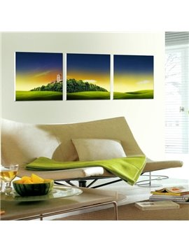 New Arrival Green Grassland and Colorful Cloud Canvas Wall Prints