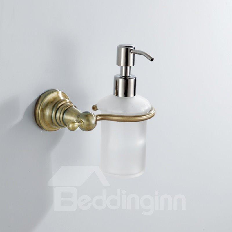 Simple Round Style Antique Golden Brass Soap Dispenser