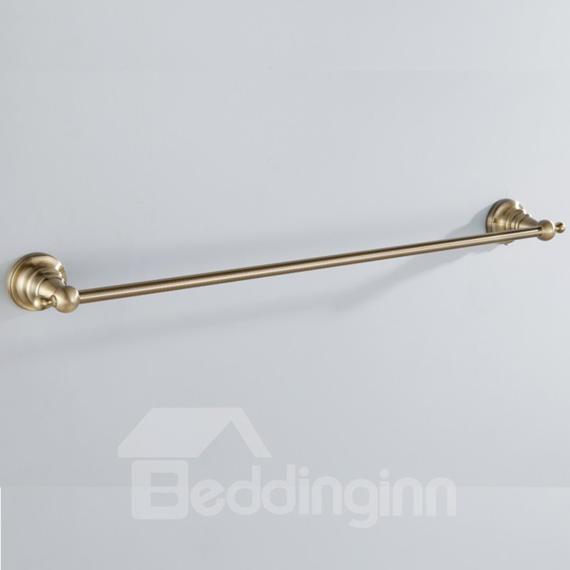 Simple Round Style Antique Golden Brass Towel Bar