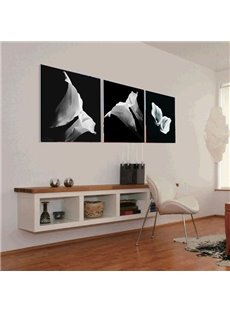 16×16in×3 Panels Black Background with White Callas Hanging Canvas Waterproof Eco-friendly Framed Prints