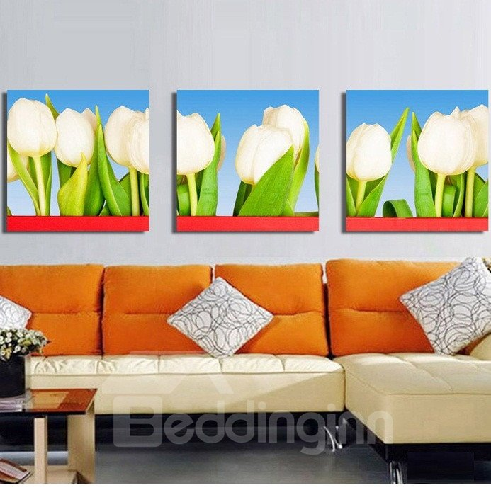 New Arrival Lovely White Tulips Canvas Wall Prints