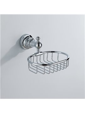 Chrome Finish Contemporary Style Brass Wall Mounted Retangle Soap Holders