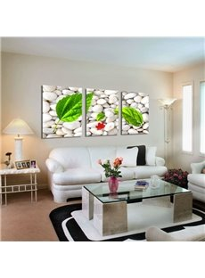 Cobblestone And Green Leaves Pattern Canvas Framed Wall Art Prints