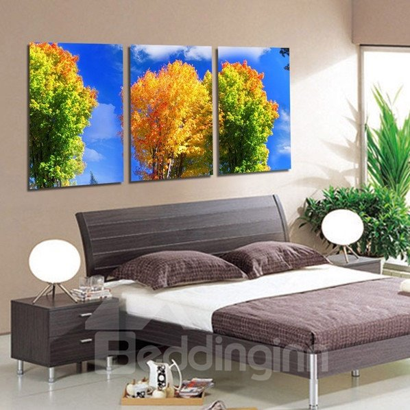 New Arrival Trees With Yellow and Green Leaves and White Cloud Canvas Wall Prints