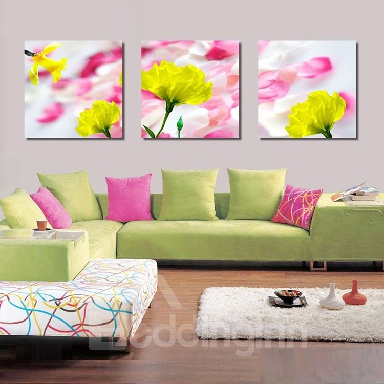 New Arrival Yellow Flowers And White and Pink Petal Canvas Wall Prints