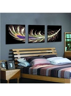 Beautiful Feather Pattern 3-Panel Canvas Framed Wall Art Prints