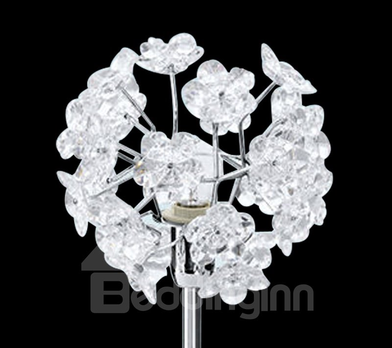 Charming Acrylic Floral Metal Base 1 Light Lamp