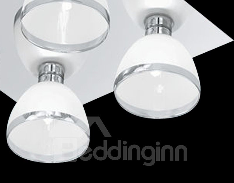Fancy Glass Shade Metal Top-suching Disk 4 Lights Flush Mount