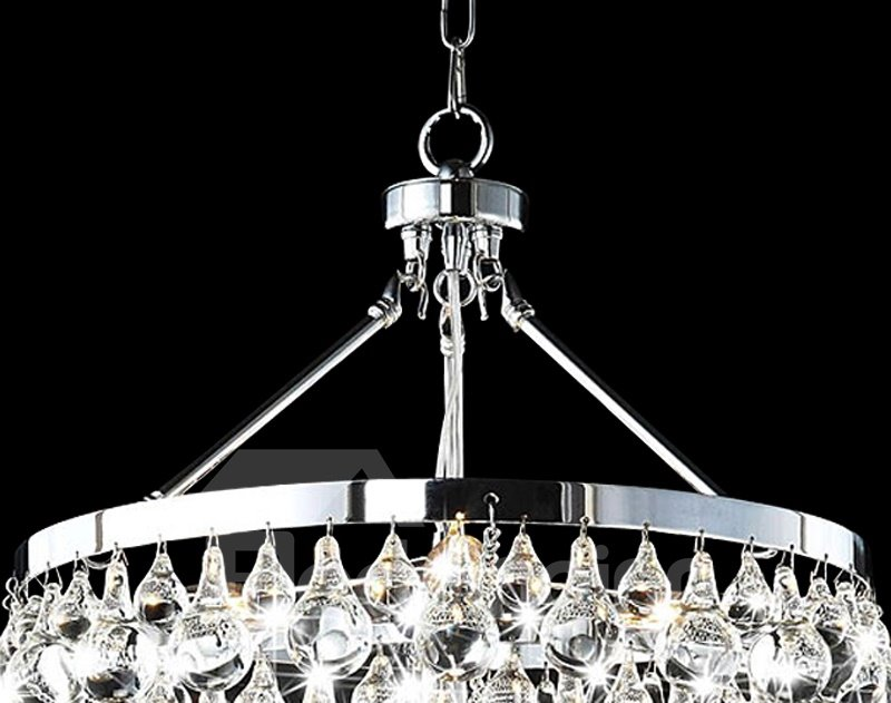 Shining Electroplated Finish Metal Crystal Shade Chandelier